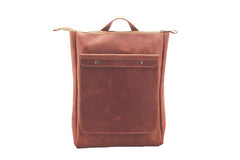 Backpack vintage city ham chocolate crazy horse