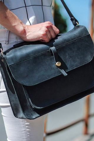 Vintage city briefcase maxi black crazy horse