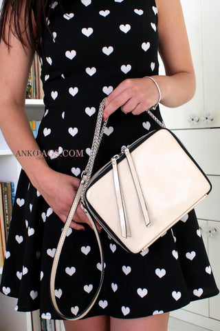 "Leather Crossbody bag ""Amy"" beige gloss"