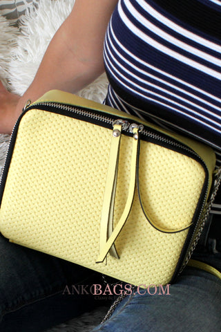 "Leather Crossbody bag ""Amy"" yellow with weaving"