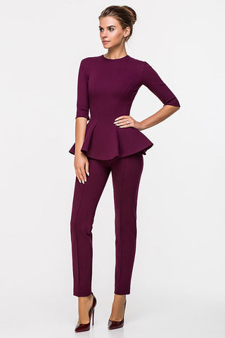 LADY BOSS BLOUSE WITH A SLEEVE MAROON