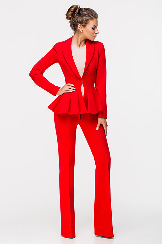 LADY BOSS BELL-BOTTOM TROUSERS RED