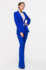 LADY BOSS BELL-BOTTOM TROUSERS BLUE