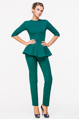 LADY BOSS BLOUSE WITH A SLEEVE GREEN