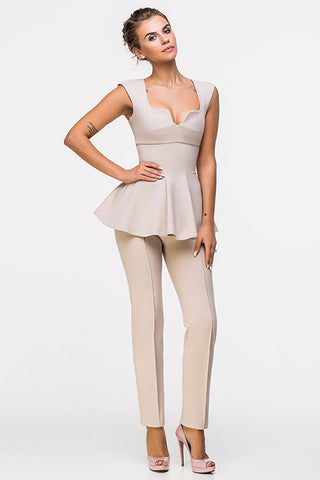 LADY BOSS TOP-DIANA BEIGE
