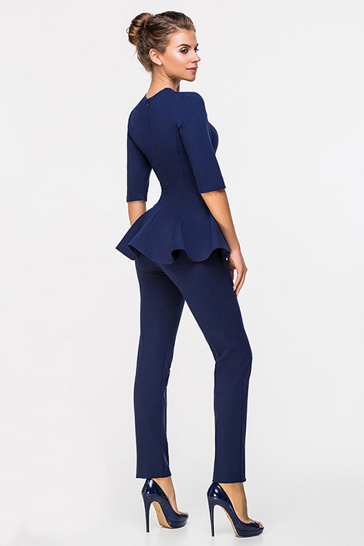 LADY BOSS BLOUSE WITH A SLEEVE DARKBLUE