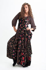 LADY FREE STYLE DRESS PATCHWORK BLACK