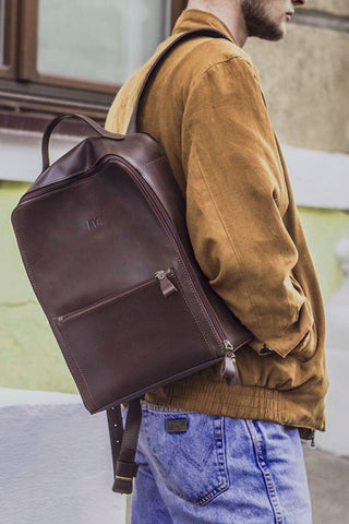 Backpack vintage city friend brown crazy horse