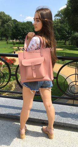 "Leather handbag Ankobags ""GUARD"" pink"