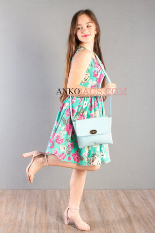"Leather Crossbody bag Ankobags ""STREET"" turquoise"