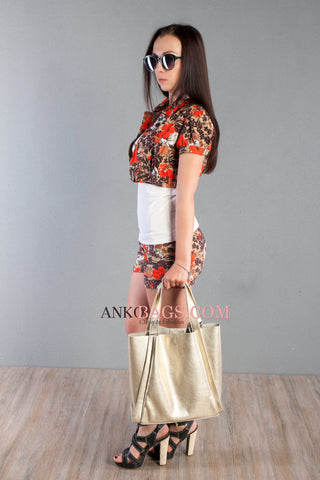 "Leather handbag Ankobags ""DOLCE"" gold"