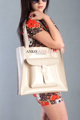 "Leather handbag Ankobags ""GUARD"" Ivory"