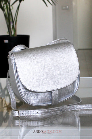 "Leather CROSSBODY bag ""Stephanie"" silver"