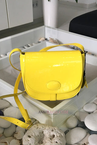 "Leather CROSSBODY bag ""Stephanie"" yellow"