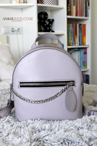 "Leather backpack ""Judy"" lilac mat"
