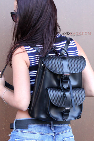 "Leather backpack ""Patsy"" black with weaving"