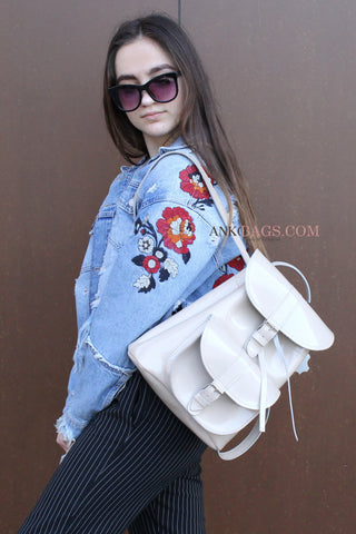 "Leather backpack ""Patsy"" ivory glossy"
