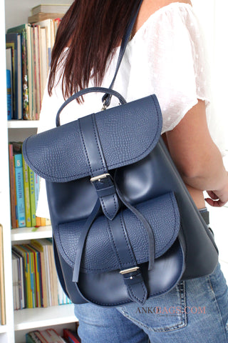 "Leather backpack ""Patsy"" navy with stamping"