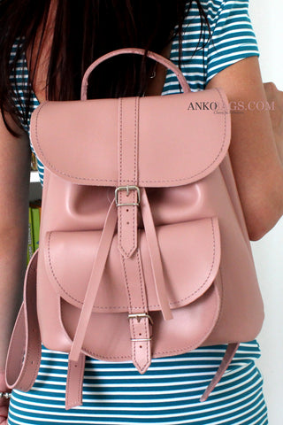 "Leather backpack ""Patsy"" pink mat"