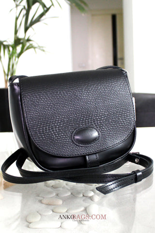 "Leather CROSSBODY bag ""Stephanie"" black with embossing"