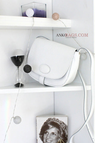 "Leather CROSSBODY bag ""Stephanie"" white with embossing"