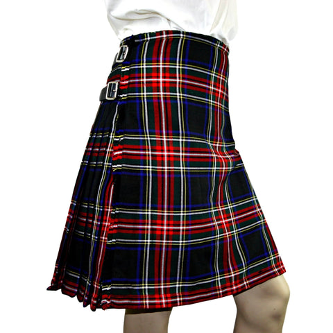 Black Stewart Heavyweight Poly Viscose Formal 8 Yard Kilt - Highland Kilt Company