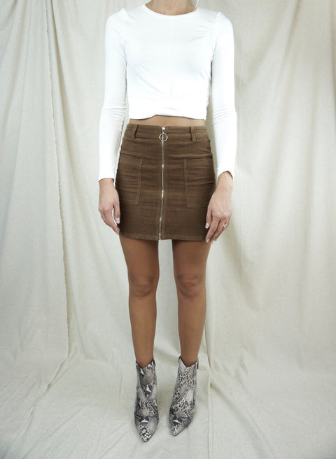 Zipper Corduroy Mini Skirt