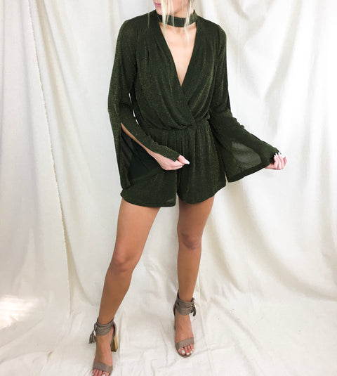 Hung Up On You Romper In Olive