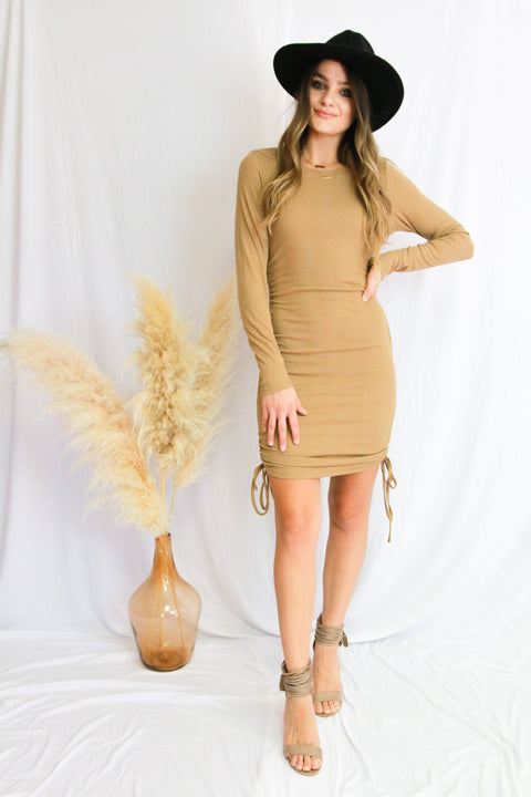 Coffee Ruched Dress