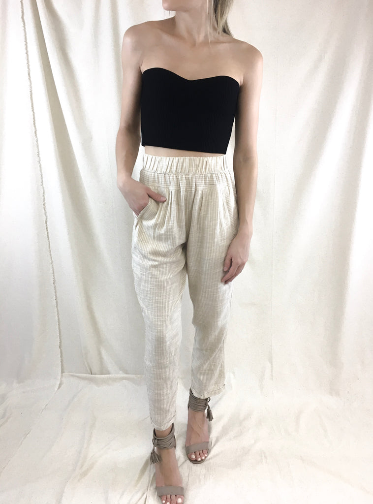 Tan Striped Utility Pants