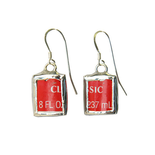 Red Coca-Cola Logo Square Earrings