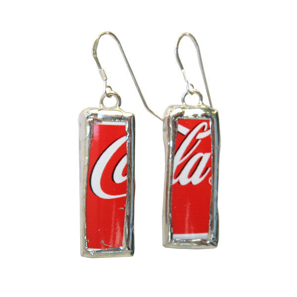 Red Coca-Cola Recycled Earrings