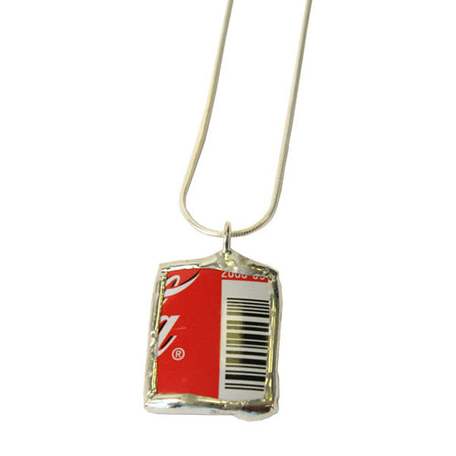 Red Coca-Cola Square on Snake Necklace