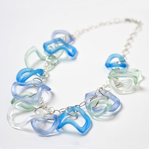 Ruffle Necklace Ocean Colors