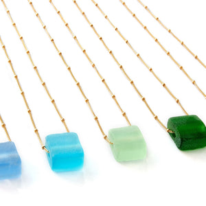 Simple Cube Necklace Gold Fill