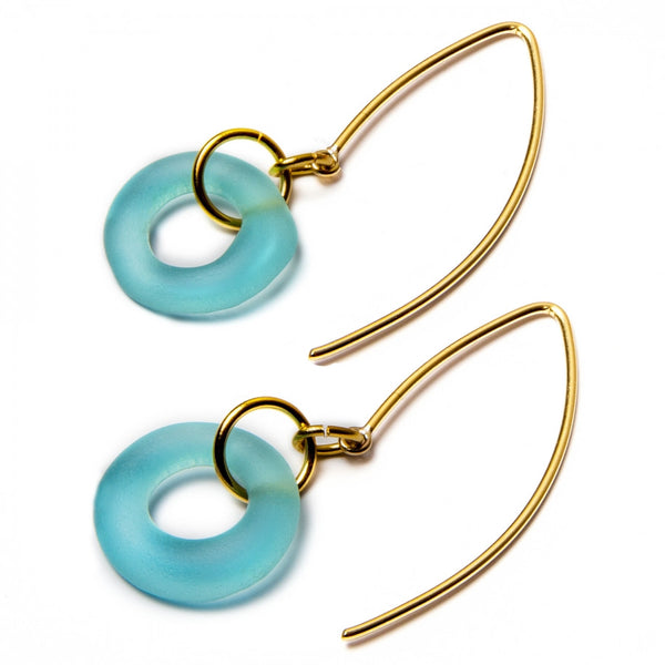 Mini Boomerang Earrings Aqua