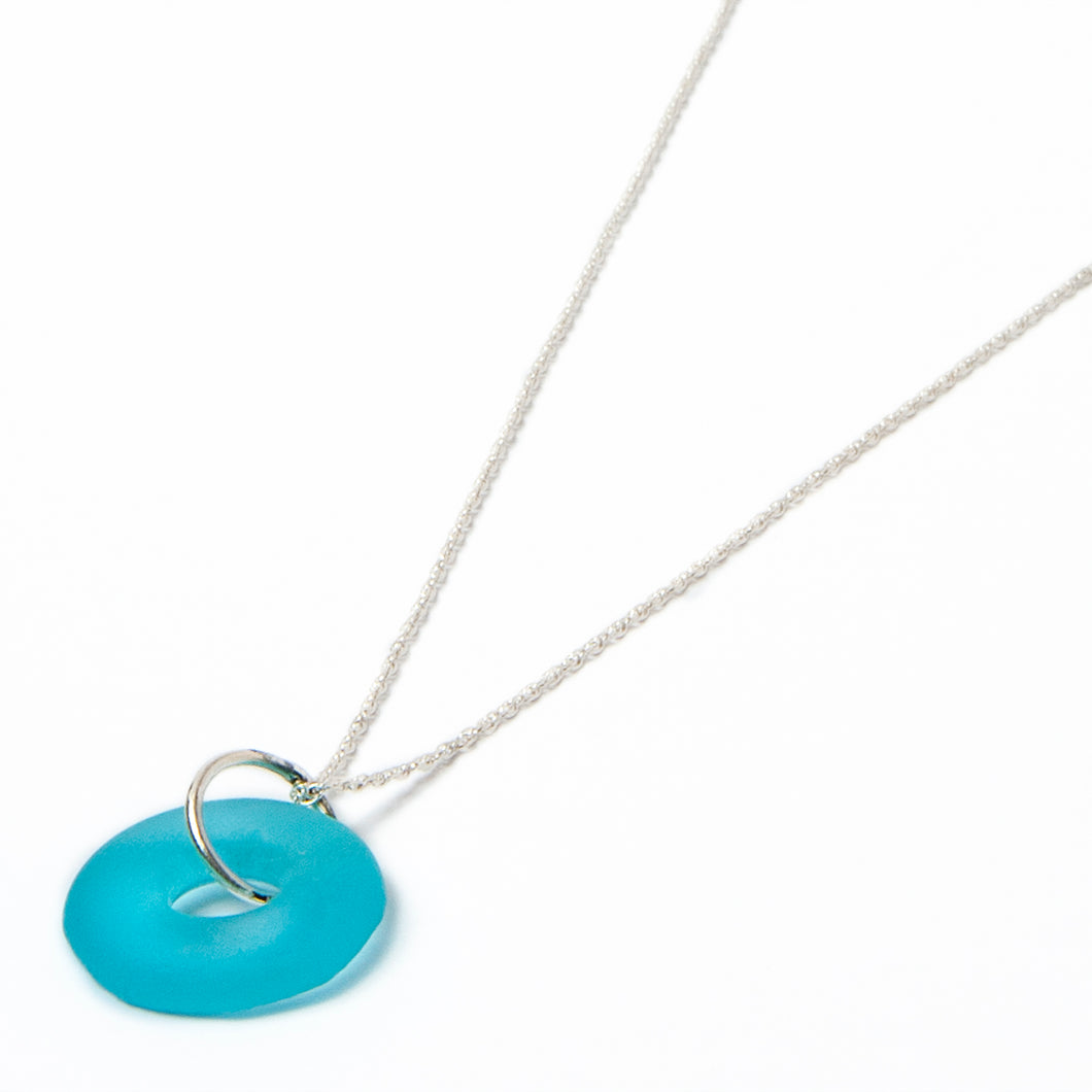 silver mini simple necklace aqua