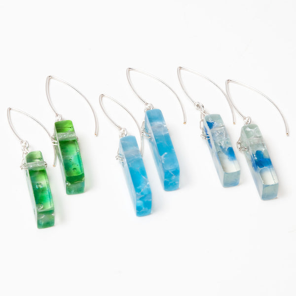 Mosaic Stiletto Sterling Silver Earrings