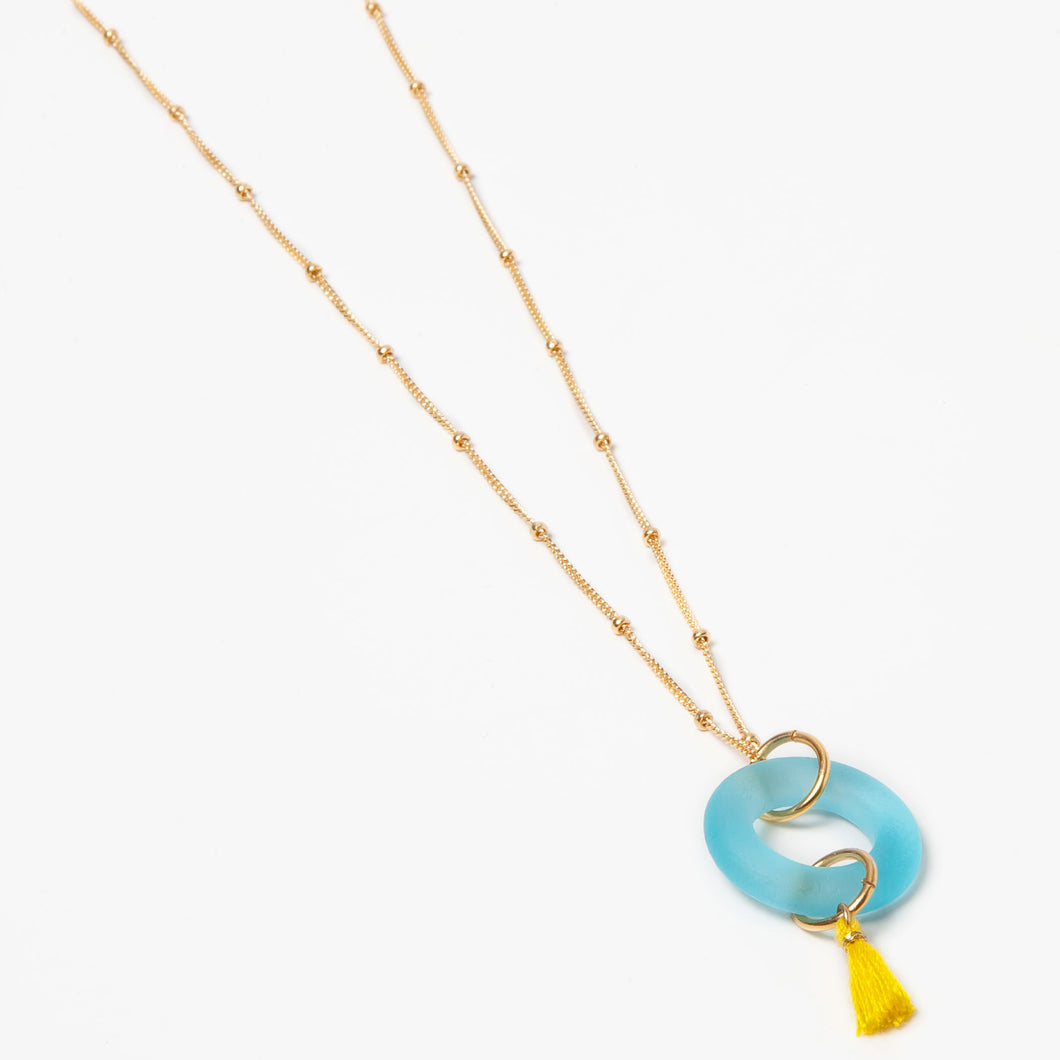 Mini Tassel Necklace Aqua