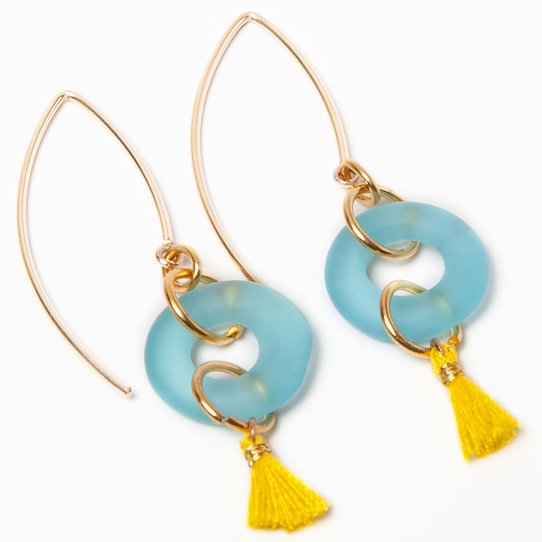 Mini Tassel Earrings Aqua
