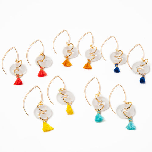 Mini Tassel Earrings Clear