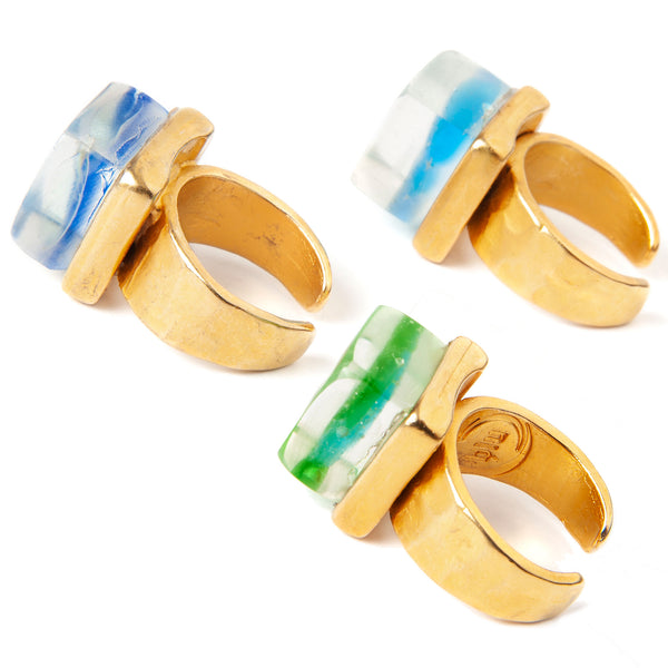 Mosaic Cube Ring Gold