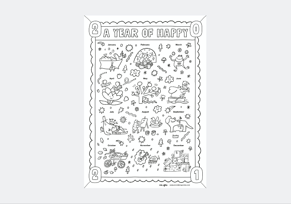 HAPPY 2021 COLOURING POSTER