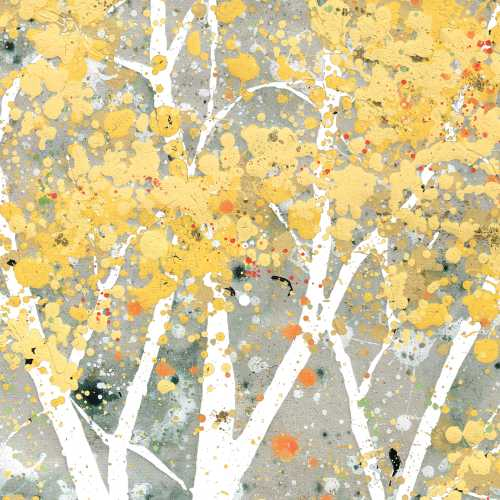 Birch Trees Yellow (Beverage Napkin)