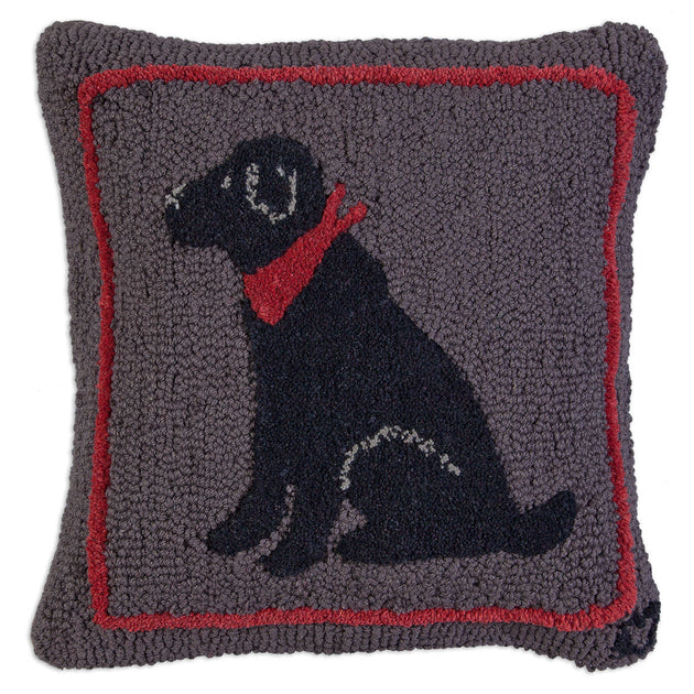 "Black Lab 18"" Wool Throw Pillow"