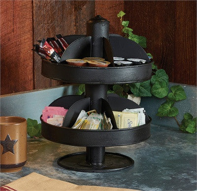 Double Tier Black Lazy Susan
