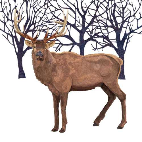 Winter Elk (Beverage Napkin)
