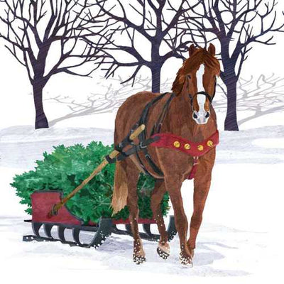 Winter Horse Sleigh (Beverage Napkin)