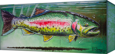 """Rainbow Trout with Green Background"" Metal Art (A5BX-2142RAINBOW-EA)"