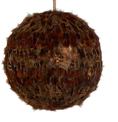 Brown Feather Decorative Ball 4""
